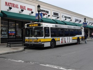 Photo of MBTA bus stopped in Medford.
