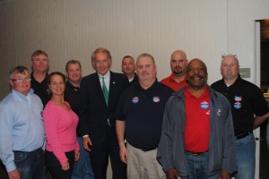 Local 589's endorsed candidate for U.S. Senate Ed Markey (center) with the Executive Board of the Boston Carmen's Union.