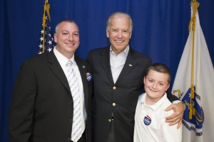 Local 589's Secretary/Treasurer Jim Evers and his son Jim Jr. seen here with Vice President Joe Biden at an Ed Markey campaign event.