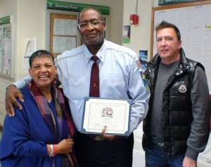MBTA 'Roadeo' winner Willis Rose (center) with MBTA General Manager Beverly Scott (left) and MBTA Chief Operating Officer Sean McCarthy.