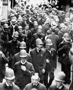 Boston Police leave a meeting after voting to strike. Note how young most of the officers were, many veterans of the Great War and with young families.