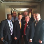 Photo caption: Local 589's endorsed candidate for Governor, Steve Grossman with Allen Lee, John Hunt, John Clancy, Joe Cerbone, Mike Keller and Jimmy O'Brien at the Boston Labor Day Breakfast