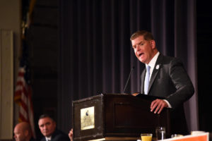 Mayor Martin J. Walsh speaks at the Greater Boston Labor Council's Labor Day breakfast in Boston yesterday.