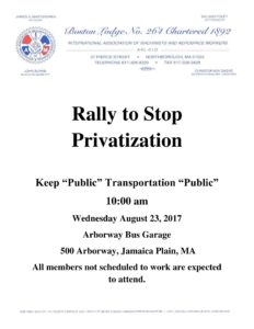 Rally to Stop Privatization @ MBTA Arborway Garage | Lynn | Massachusetts | United States