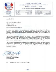 Local 589 endorsement letter to Secretary of State Galvin.
