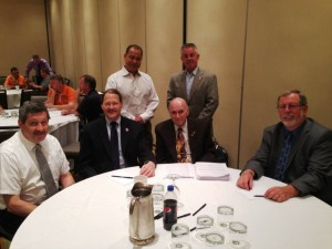 ATU International Presence at New England Joint Conference. Seated left to rights IVP Richard Murphy, IVP Bruce Hamilton, Retired IVP Joe Welch, IVP Chuck Watson and standing IVP John Costa with International Rep. Stephan MacDougall.