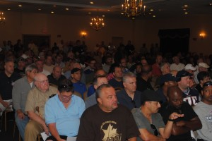 Photo of the over 650 members that packed Florian Hall to review the Arbitrator's Award and ask questions.