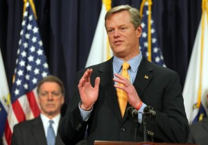 Governor Baker held a State House press conference last week to discuss a special panel to overhaul the beleaguered MBTA. (Photo by JOHN TLUMACKI/GLOBE STAFF)