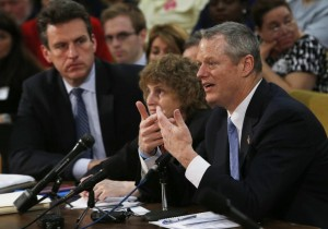 Governor Charlie Baker testified in support of the MBTA overhaul bill at the State House on Monday. Photo by JESSICA RINALDI/GLOBE STAFF