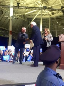 President Jimmy O'Brien shaking hands with U.S. Senator. and presidential candidate, Bernie Sanders.