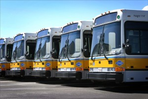 Photo of MBTA buses parked next to each other.