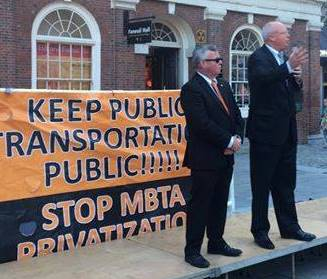 Union Officials And Elected Democrats Rally Against MBTA