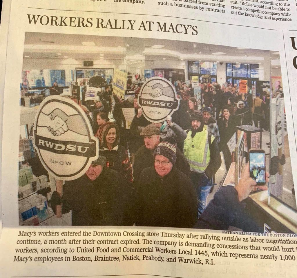 Local 589 President Jimmy O'Brien and Delegate Mike Keller for Equipment Maintenance were photographed by the Boston Globe at yesterday's rally to support our brothers and sisters of UFCW, Local 1445.