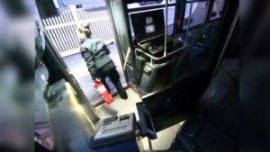 MBTA driver putting out a fire.