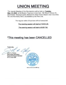 May 12 union meeting notice