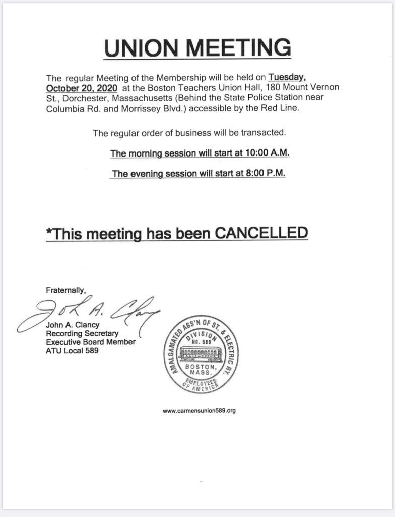 CANCELED - Union Meeting