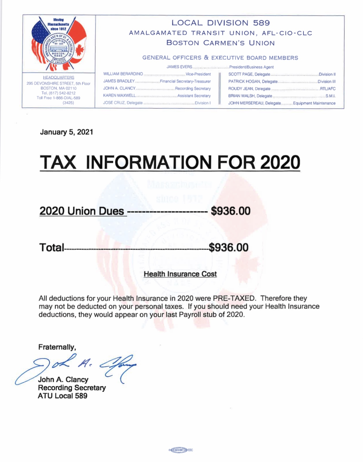 Tax Information for 2020
