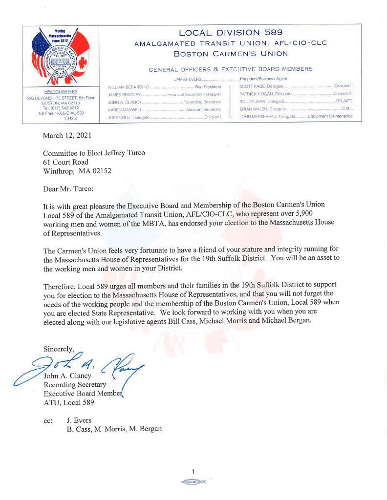 Endorsement Letter for Jeff Turco